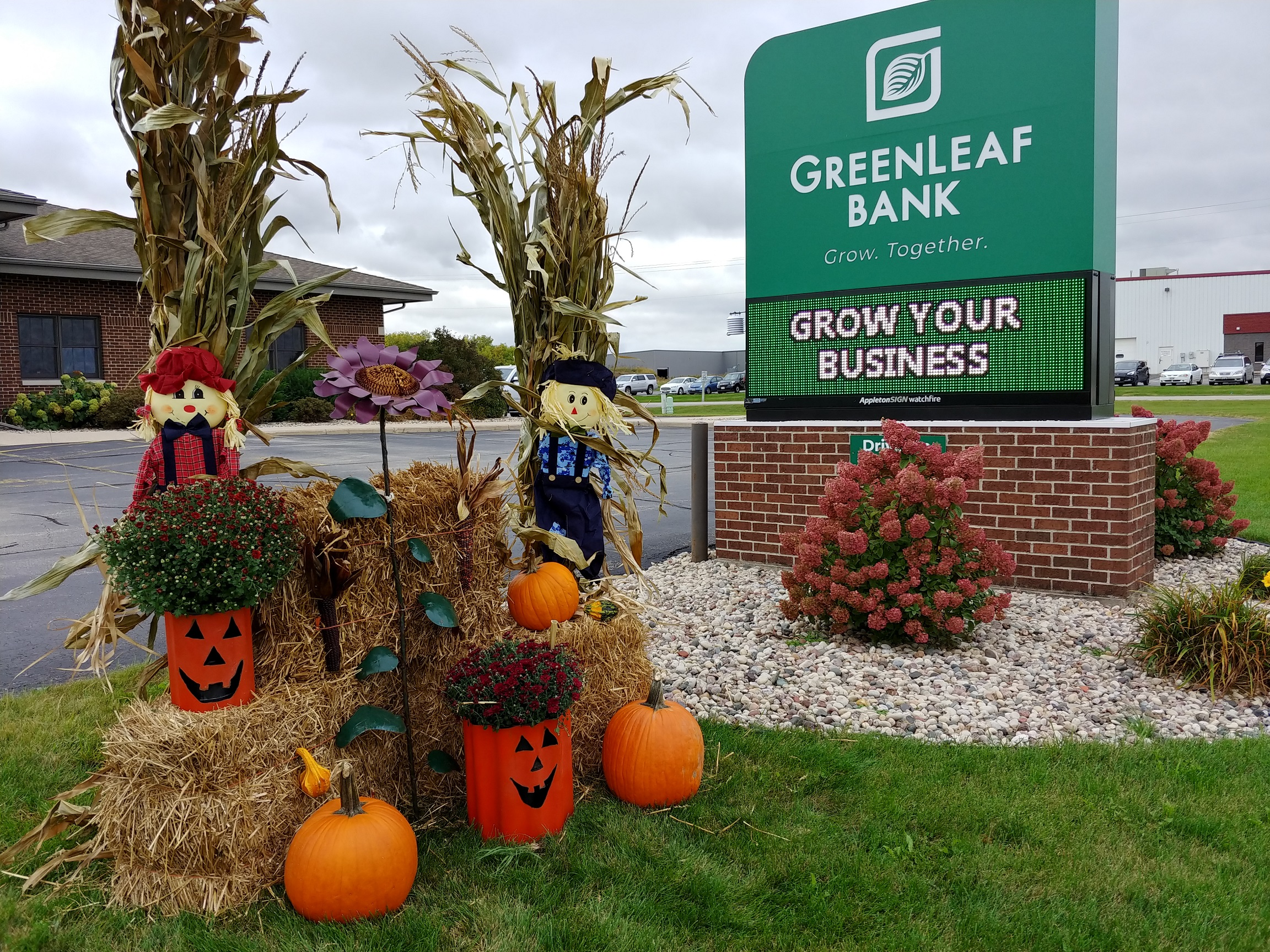 GreenLeaf Bank fall office decorations